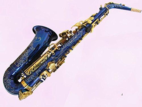xie-mi-bemol-toca-el-saxofon-alto-oro-del-cuerpo-azul-lleno-de-flores-de-clave-de-clasificacion-de-l