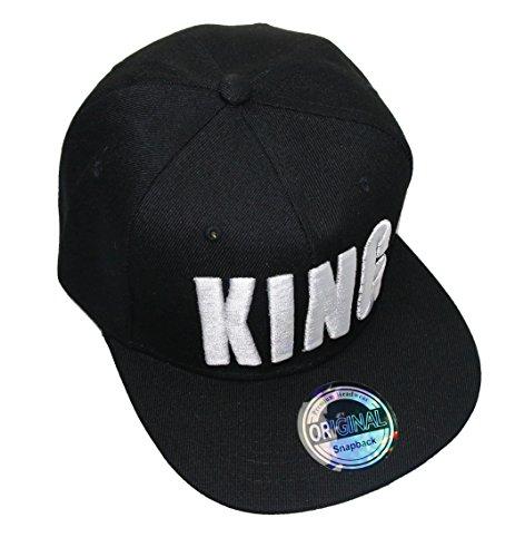 King Queen Snapback Cap Caps Herren Damen (King schwarz weiß)