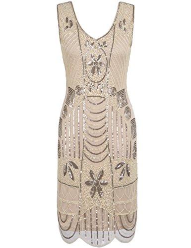 PrettyGuide Damen 1920er Gatsby Art Deco ¨¹berbackene Saum Cocktail Charleston Kleider XL Champagner