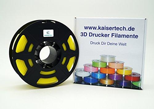 Kaisertech Filament für 3D Drucker 1kg PLA/ABS 1.75mm / 3mm - Premium Qualität & verschiedene Farben für MakerBot RepRap MakerGear Ultimaker uvm. (PLA 3.00mm, Glow in dark Gelb)