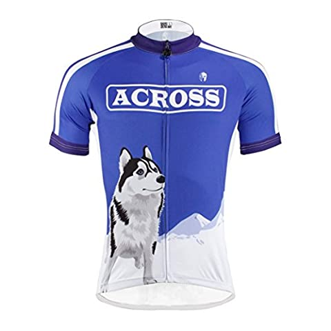 Men's Short Sleeves Full-Zip Bike Jersey Cycling Clothing Jersey Dog Patten Blue Medium