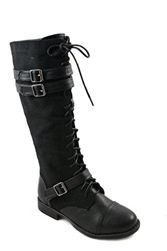 Funky Fourever da donna Vintage in pelle sintetica con fibbia e lana-Stivali da donna, al ginocchio, con lacci Nero (nero)