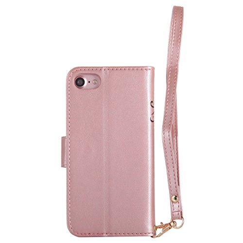 Custodia iPhone 7, iPhone 7 Cover Wallet, SainCat Custodia in Pelle Flip Cover per iPhone 7/8, 3D Creativa Design Ultra Sottile Anti-Scratch Book Style Custodia Morbida Cover Protettiva Caso PU Leathe Rose Gold