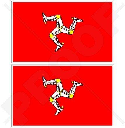 ISLE von MAN Flagge MANX Großbritannien UK TT Rennen 100mm Auto & Motorrad Aufkleber, x2 Vinyl Stickers