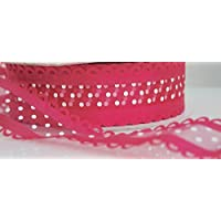2 Metres Wire Edged Decorative Hot Pink Organza Ribbon with White Spots - 38mm wide