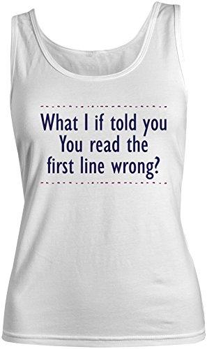 You Read The Fist Line Wrong Amusant Joke Text Femme Tank Top Debardeur Blanc