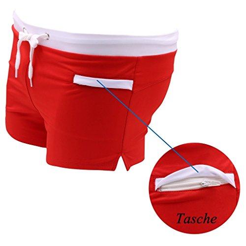 Badehosen Herren kurz badeshorts Schwimmhose - Hibote Badehose herren Männer kurze short Hose mit Tasche Blau Rot Weiß Schwarz MLXL Rot