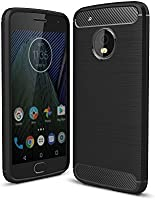 STARZ Rugged Armor Brushed Textured Shock Proof Back Case Cover for Moto G5 Plus (Black)