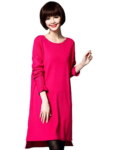 MatchLife Damen Knit Langarm Jumper Pullover Sweater Style4-Rosa