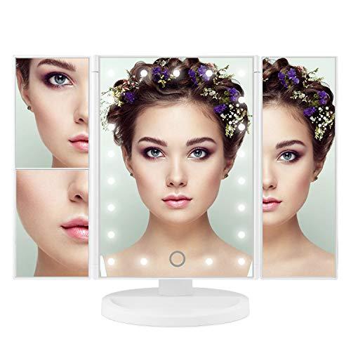 ISASSY Kosmetikspiegel mit Licht Schminkspiegel Beleuchtet 1/2/ 3 Fach Vergrößerung mit 21 LED...