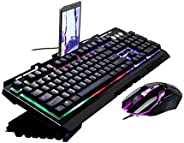 USB Wired Keyboard And Mouse Sets, LED Light (Green/Red/Blue) Metal Game Keyboard With Mobile Phone Support Ke