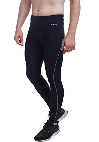 H.MILES Herren Fitness Hose Compression Tights Mens Sporthosen Fitnesshosen Jogginghose Kompressionshose Leggings Base Layer Pants Schwarz