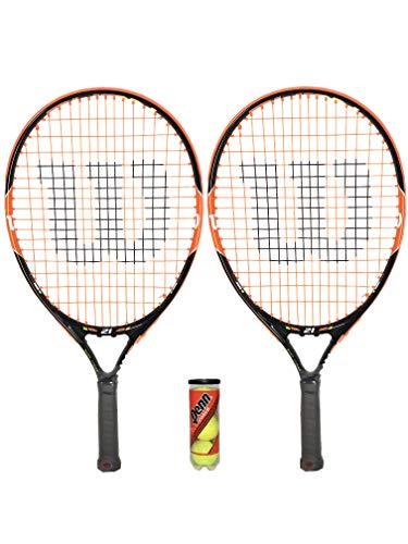 2 x Wilson Burn 21 zoll Junior Tennisschläger + 3 Tennisbälle