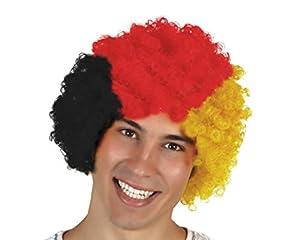 Atosa-24593 Atosa-24593-Peluca Payaso Bandera Alemania-Mundial De Fútbol Y Deportes, Color Amarillo, Rojo y Negro (24593)