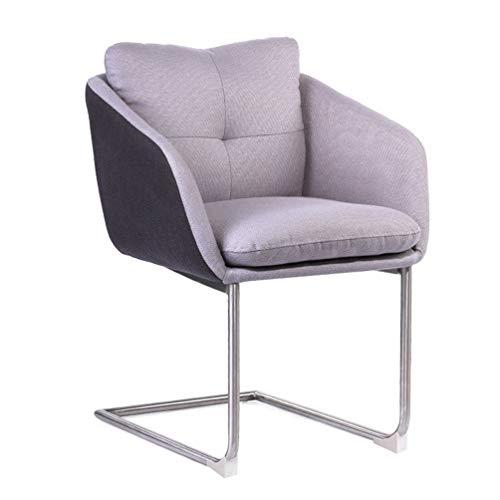 WF-CHAIR Moderner Akzentstuhl Lounge Sessel Moderner Stoff Gepolstert Freizeit Bürostuhl Schreibtischstuhl Arbeitsstühle Wohnzimmer Schlafzimmerstuhl Hochschwamm, Grau (Einzelsitz) -