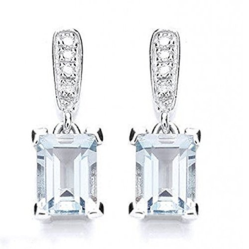 3.00Carat Diamant et Aigue-marine Taille émeraude Boucles d'oreilles en or blanc