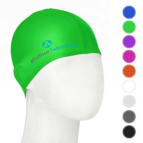 #DoYourSwimming KINDER - Badekappe/Schwimmhaube   für Kinder (Mädchen/Jungen) bis ca. 10Jahre  Silikon (100% wasserdicht) - elastische Badekappe/Schwimmkappe - Tragekomfort »Goldfisch« grün