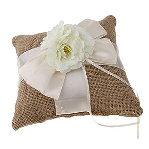 Baoblaze Sackleinen Ringkissen Eherring Kissen Hochzeitsringkissen mit Kunstblumen Dekoration