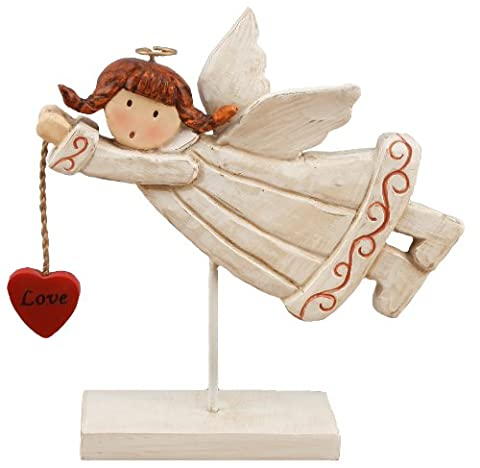 Young's Resin Angel Holding Heart Figurine, 7.25-Inch