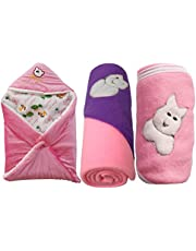 My Newborn Baby Fleece Hooded Blanket, Pink (Pack of 3)
