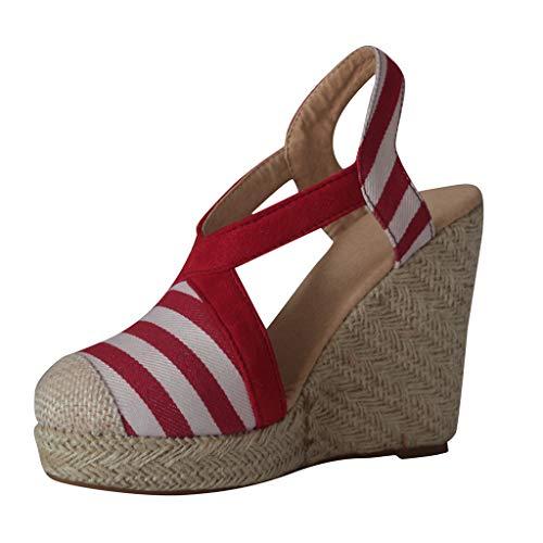 AIni Damen Schuhe Sommer Beiläufiges 2019 Neuer Heißer Walzer Modern Dance Schuhe Ballsaal Latin Dance Soft Bottom Sandalen Strand Partyschuhe Freizeitschuhe(40,Rot)