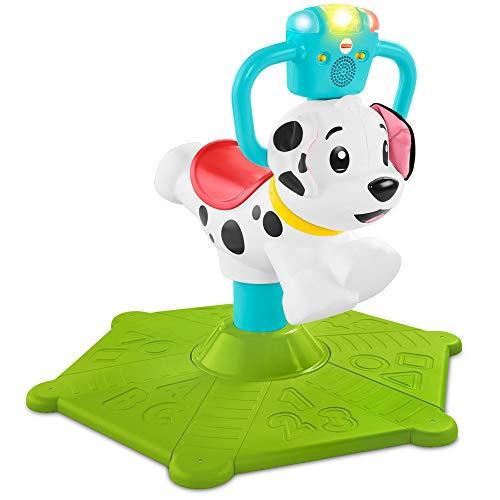 Fisher-price- cagnolino saltella e gira, insegna numeri, colori e tanto altro, giocattolo educativo per bambini 12 + mesi, ghy07