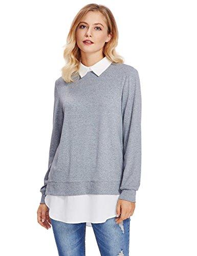 Romwe Damen 2-in-1 Langarm Bluse mit Kontrastfarbe Herbst Winter Langarmshirt Pullover Hell Grau