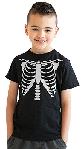 Crazy Dog Tshirts - Youth White Skeleton Rib Cage Tshirt Bones Costume Tee (Black) - XL - Jungen - XL