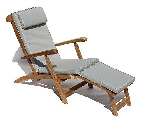 Baltico Liegestuhl Teak Holz Massiv Deckchair Inkl. Auflage Hellgrau/Taupe/Gartenstuhl