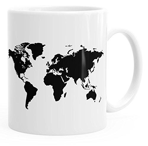 Kaffee-Tasse Weltkarte World Map Teetasse Keramiktasse Autiga® weiß unisize