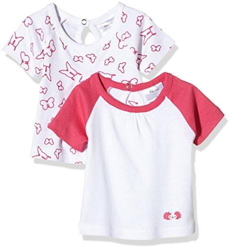 Twins Baby-Mädchen T-Shirt, 2er Pack, Mehrfarbig (Weiss/Pink 810013), 50