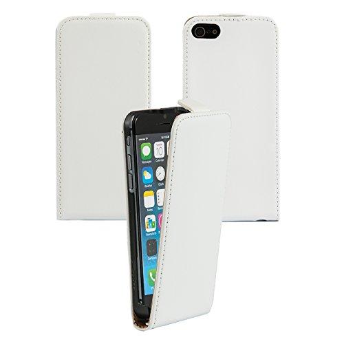 "iProtect Apple iPhone 6 (4,7"") 6s Hülle Flip Case Kunstledertasche Schutzhülle schwarz Flipcase Weiß"