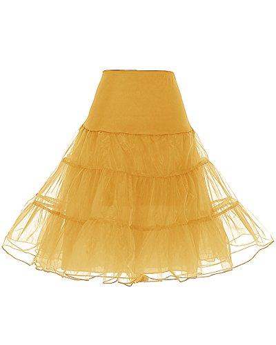 icoat Reifrock Unterrock Petticoat Underskirt Crinoline für Rockabilly Kleid Gold M ()
