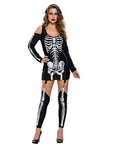 Übergröße Kostüm Skelett Scary - WXJWPZ Mechanische Knochen Schädel Kostüm Frauen Halloween Outfit Skeleton Kostüme Plus Size Overall Scary Bodysuit,M