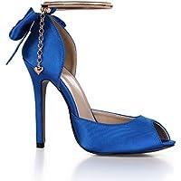ZHZNVX Unico calzature donna primavera nuova Damasco temperamento sandali banchetto di nozze della farfalla catena fiore…