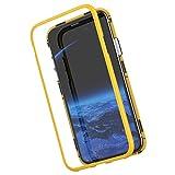 Funda magnetica Compatible con iPhone XS MAX Carcasa 360 Grados 2 en 1 rígido PC Tapa [Adsorción Magnética] Marco de Metal Caja Dura Trasera de Vidrio Templado Transparente Case.Amarillo