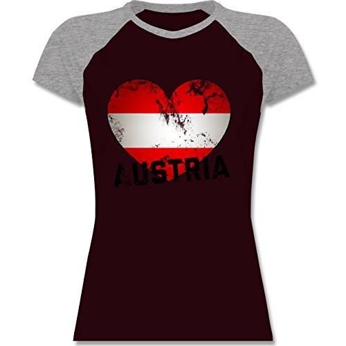 EM 2016 - Frankreich - Austria Herz Vintage - zweifarbiges Baseballshirt / Raglan T-Shirt für Damen Burgundrot/Grau meliert
