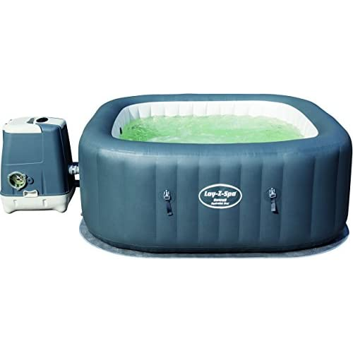 Bestway Lay-Z-Spa 180 x 180 x 71 cm Hawaii HydroJet Pro Hot Tub, Square Inflatable Spa, 4-6 Person