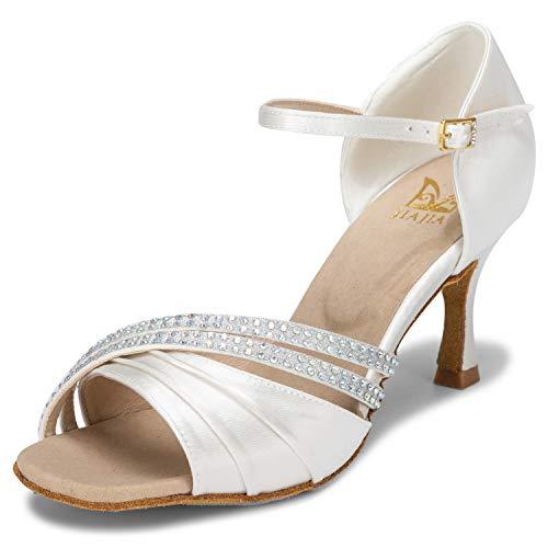 JIA JIA 20524 Damen Sandalen Ausgestelltes Heel Super-Satin Latein Strass Tanzschuhe Farbe Elfenbein,Größe 40 EU - 24 Elfenbein Farbe