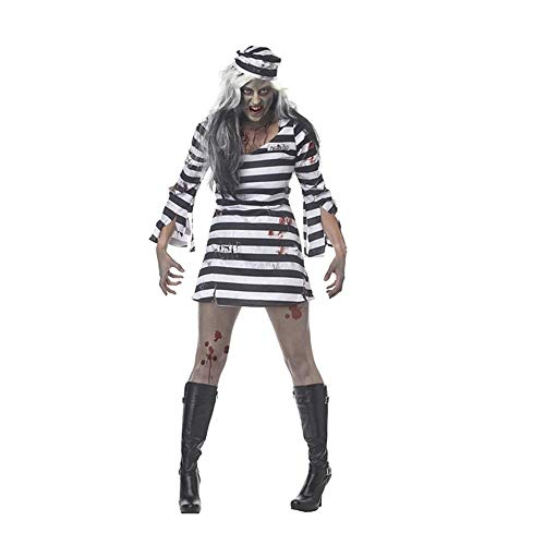 GHLLSAL Sexy Erwachsene Weibliche Gefangener, die Halloween-Kostüm-Spiel-Kleidungs-Paare Gestreifte Gefangen-Kleidungs-Partei-Kleidung dienen (Halloween Gefangener Kostüm)