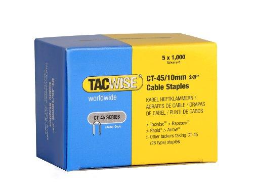 Tacwise Punti Metallici da 10 mm con Finitura Zincati, Ideale per Cavi, Serie CT-45