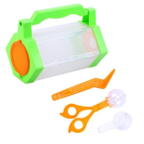 Toyvian kit cattura insetti - 20 x 12 x 12 cm custodia, clip, pinzette, lente d'ingrandimento