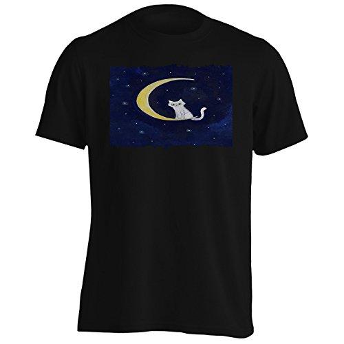 Stelle della luna del gatto amano la novità divertente Uomo T-shirt a873m Black