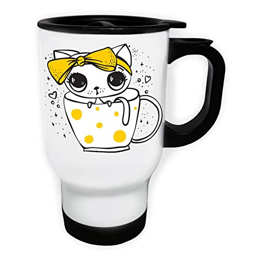 Cute Cat With Yellow Bow in a Cup Weiß Thermischer Reisebecher 14oz 400ml Becher Tasse ee376tw