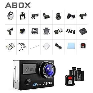 ABOX Cámara Deportiva 4K WiFi con Completos Accesorios y Full HD 16MP 2.0 LCD Pantella Táctil Dual, Cámara de Acción Sumergible hasta 30m y 170° Gran Ángulo, Control Remoto, 2 Baterías Recargables