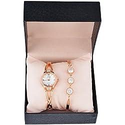 Souarts Womens Rose Gold Color Rhinestone Quartz Analog Wrist Watch Bracelet Christmas Gift Set