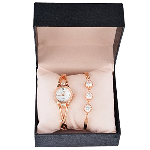 Souarts Womens Rose Gold Color Rhinestone Quartz Analog Wrist Watch Bracelet Christmas Gift Set
