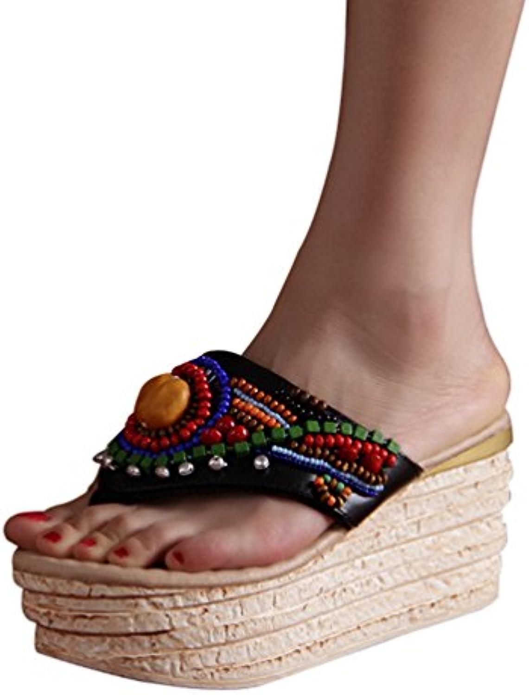 yuncai mode tongs compensées coutume populaire ou occasionnels les de sandales de les plage en pantoufles 227c3d