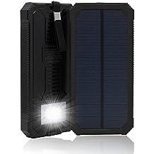 15000 mAh, Dual USB Cargador Solar portátil Backup Power Bank para exteriores de Panel Solar Cargador con LED de luz de emergencia para iPhone Samsung HTC y otros Smartphone(Negro)