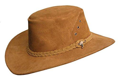Lederhut aus Wildleder mit Geflochtenem Hutband in braun, beige und schwarz von Kakadu Australia